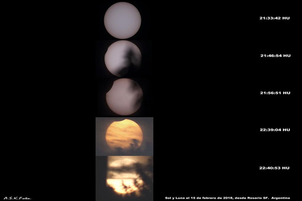 Eclipse parcial de Sol 2018; secuencia de inicio y final.