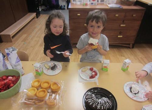 chocolate cake and strawberry shortcake
