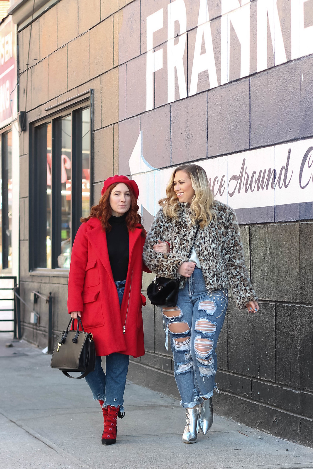 Blogger Friends Red Head Wearing Red Beret Red Coat Blonde Girl Wearing Leopard Coat Distressed Jeans