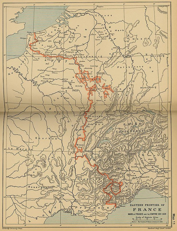 Eastern frontiers of France after the Treaty of Madrid, from The Cambridge Modern History Atlas
