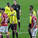 6 January 2018 ongoing discussions with Referee Craig Pawson in foreground Bristol City Players No 4 Aden Flint 23 Hordur Magnusson and No 26 Brice Dja Djedje