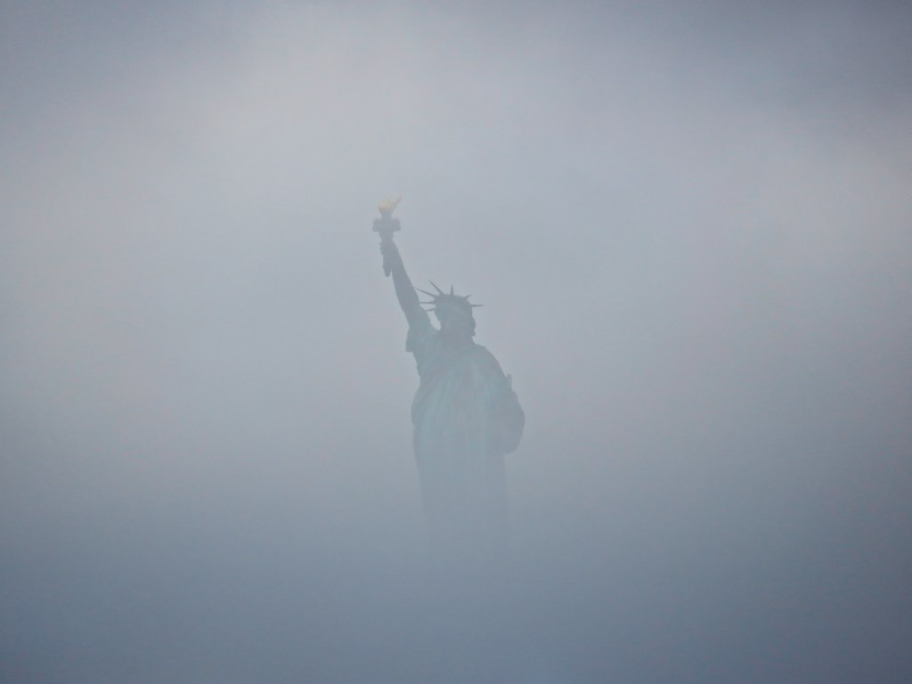 Liberty in fog