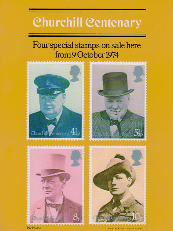 Royal Mail poster announcing the Churchill Centenary stamps to be released October 9, 1974.