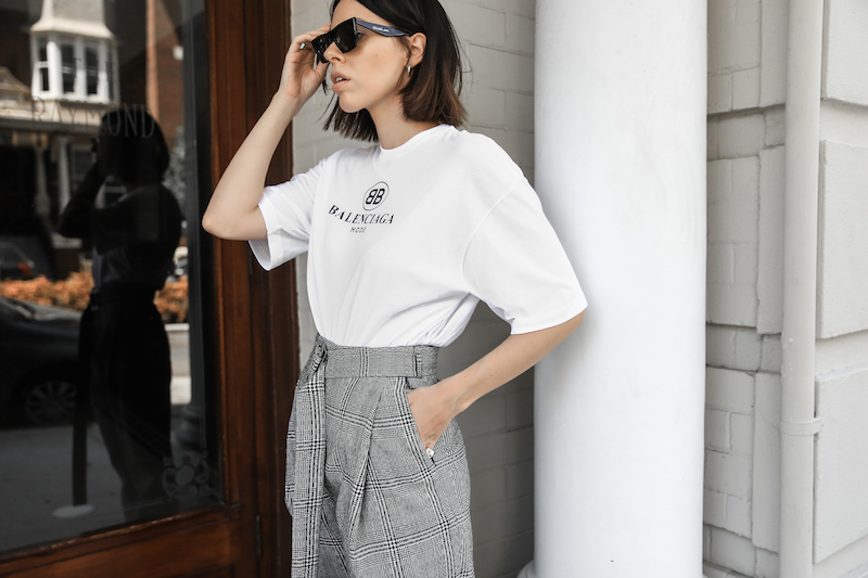 balenciaga logo tee t shirt street style fashion blogger minimal Ellery Kool Aid check pants staud bucket bag pointed flats Instagram (4 of 6)