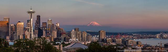Seattle Skyline and Mt. Rainier Panoramic HD
