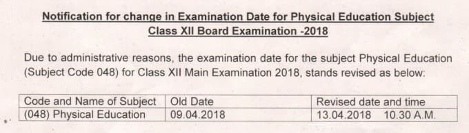 CBSE Class 12 Physical Education Exam Date Revised