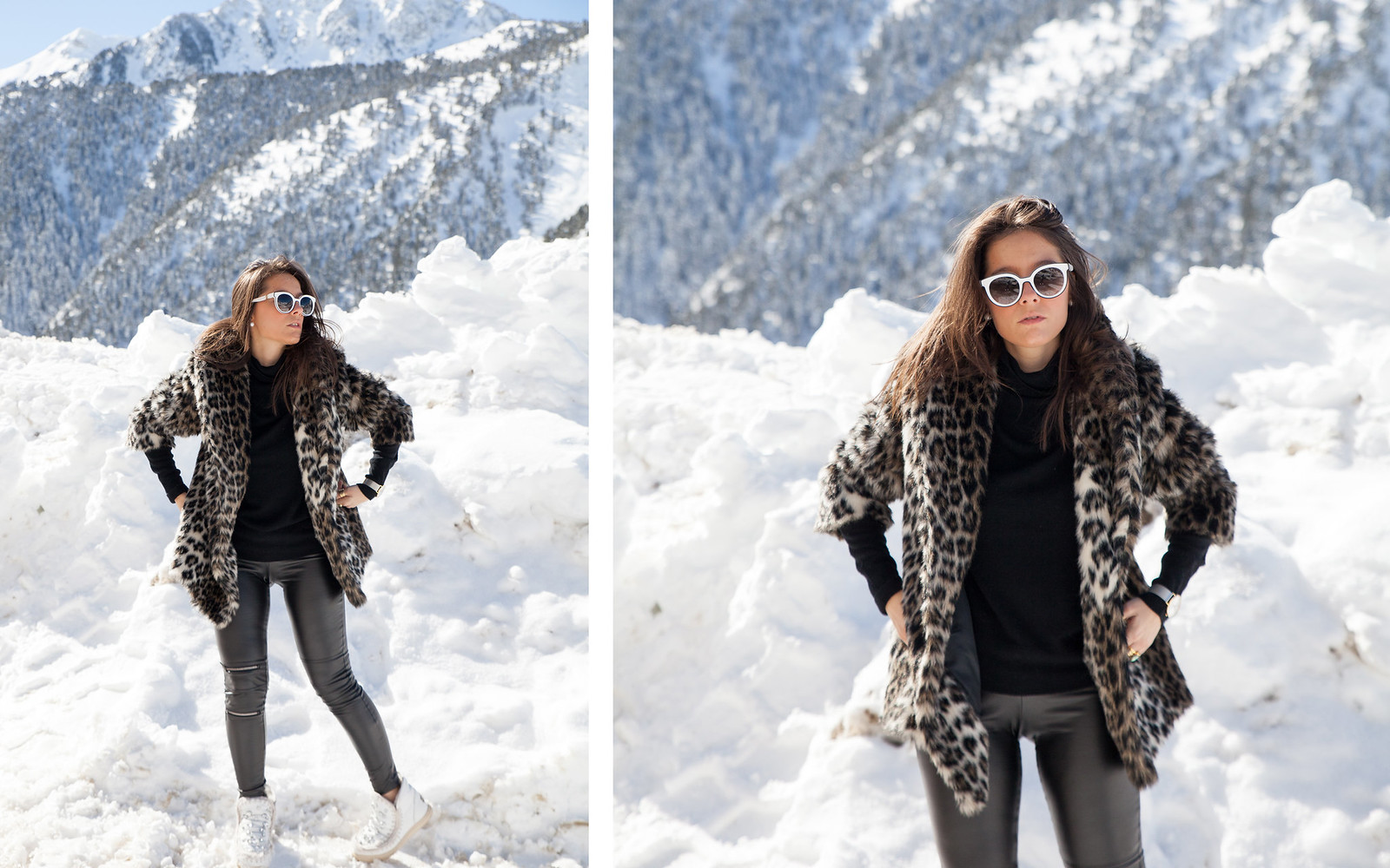 CÓMO COMBINAR LOOK ABRIGO DE LEOPARDO look and chic style snow the guest girl noholita dulceida sincerely jules lovelypepa laura influencer theguestgirl baqueira influencer barcelona look leopard coat faux fur ariviere nature matilda djfer