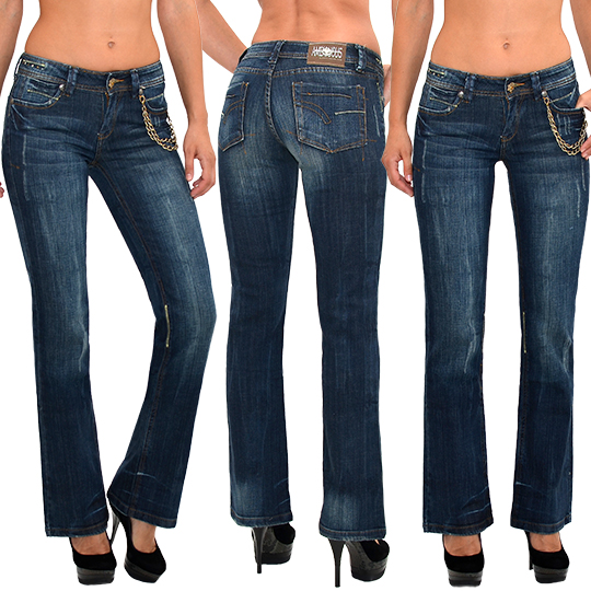 damen jeans hose bootcut damen jeanshose damenjeans schlaghose marlene z145 ebay. Black Bedroom Furniture Sets. Home Design Ideas