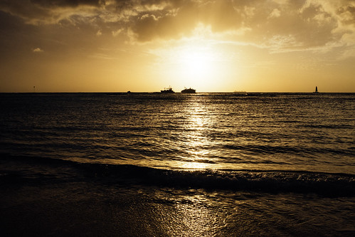 "Image titled ""Stuck Boat, Sunset, Waikiki."""