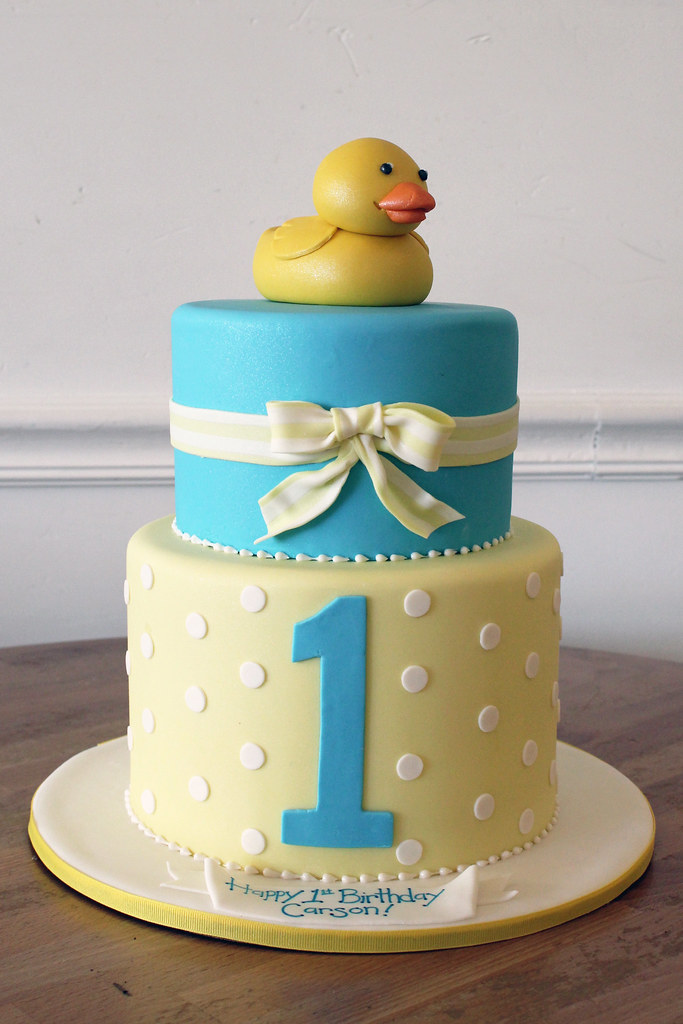 Rubber Ducky 1st Birthday Cake