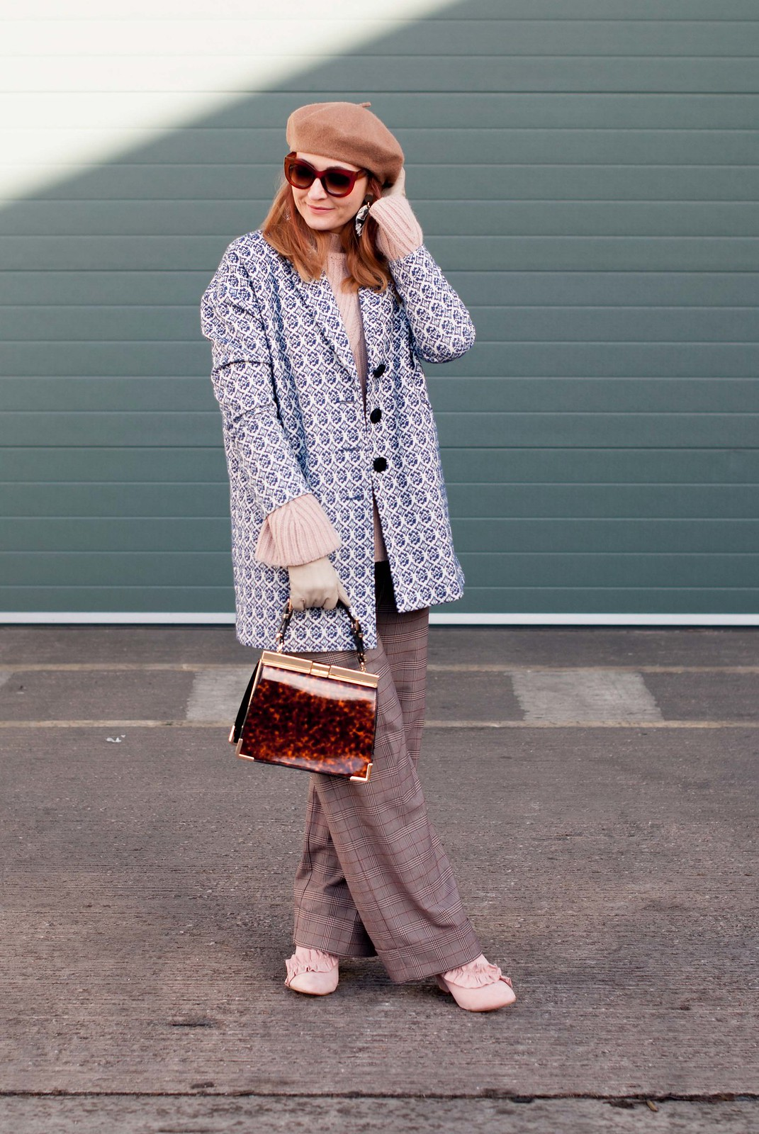How to Wear Soft Tones of Blush and Blue in Winter \ blue tapestry coat, blush pink sweater, camel beret, check trousers, pink ruffle ankle boots | Not Dressed As Lamb, over 40 style