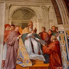 Ciudad del Vaticano. Estancia de La Signatura. Gregorio IX recibe las Decretales de mano de S. Raimundo de Peñafort