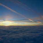 19. Veebruar 2018 - 14:41 - Breaking through the tops of the clouds from a dark and gloomy twilight below into a bright cloudless sunrise above, entering into the world of the airliners.