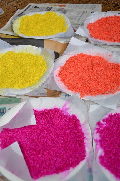 Diwali Colored Rice for Rangoli