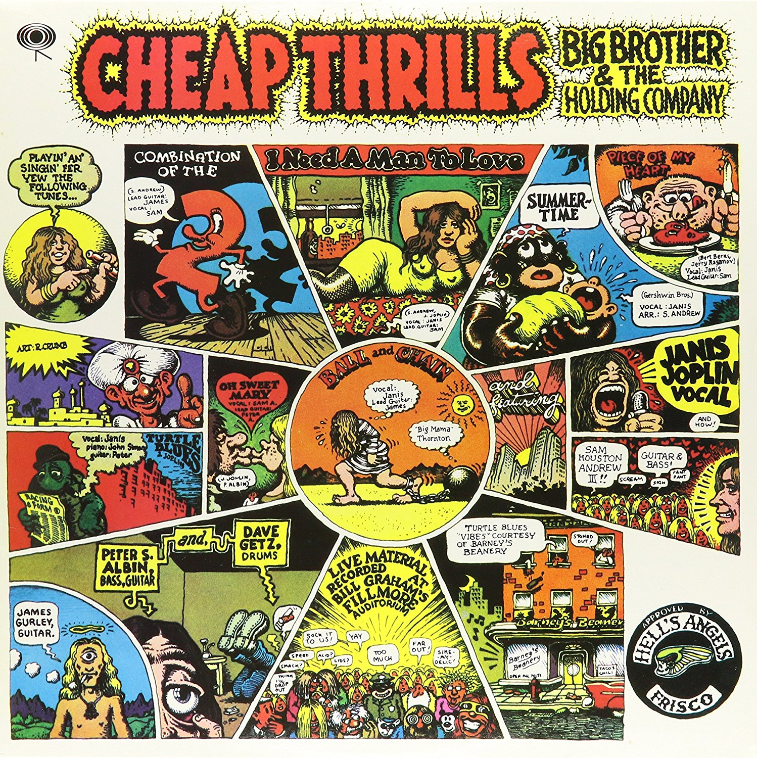 'Cheap Thrills' album by Big Brother and the Holding Company, released on August 12, 1968.