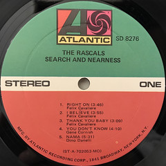 THE RASCALS:SEARCH AND NEARNESS(LABEL SIDE-A)