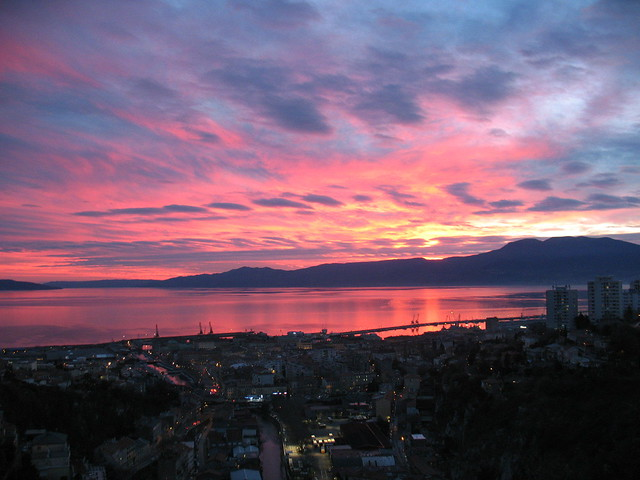 Rijeka Bay in sunset