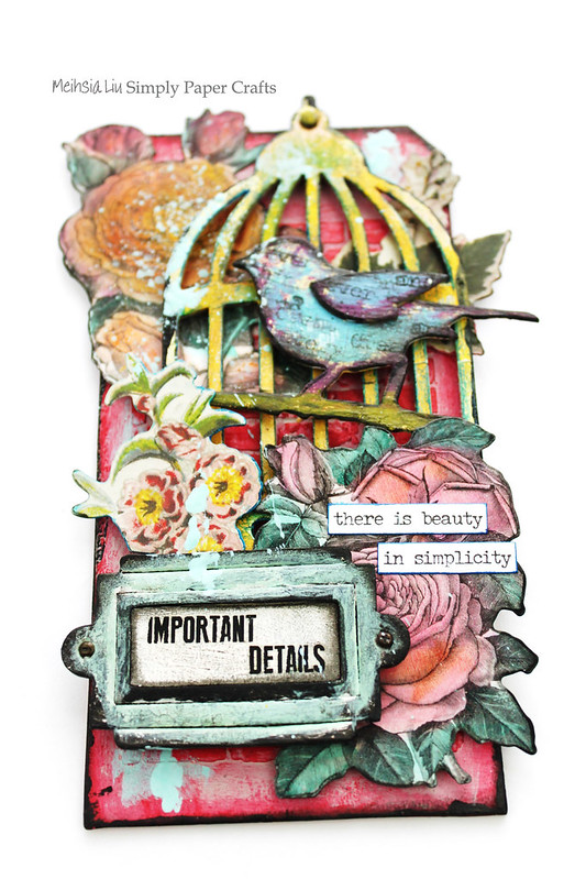 Meihsia Liu Simply Paper Crafts Mixed Media My Garden Bird Cage Bonanical Flowers Simon Says Stamp Tim Holtz