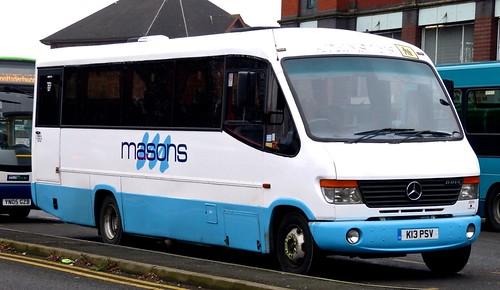 K13 PSV 'masons', Ashbourne, Derbys. Mercedes-Benz 0814D / Plaxton Cheetah /3 on 'Dennis Basford's railsroadsrunways.blogspot.co.uk'