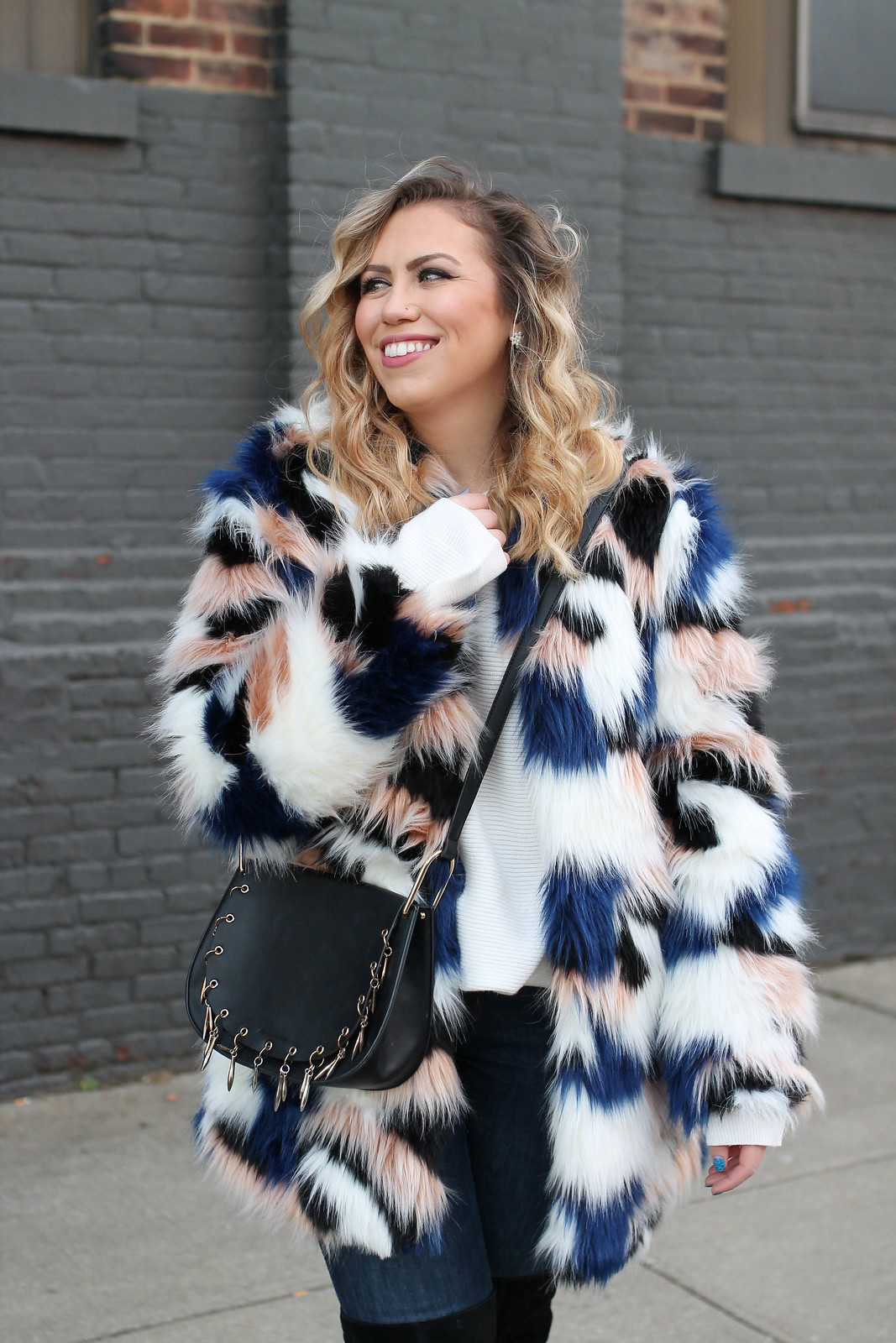 Shein Colorful Faux Fur Coat Blonde Curly Hair Winter Outfit Inspiration Statement Style Fashion