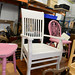 Cream slatted back chair E50