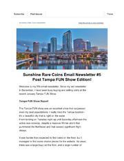 Sunshine Rare Coins Newsletter cover