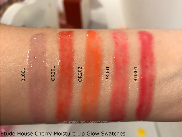 Etude House Cherry Moisture Lip Glow Swatches Review