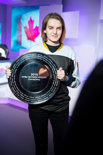 "Sasha ""Scarlett"" Hostyn wins Intel Extreme Masters PyeongChang esports competition on Wednesday, Feb. 7, 2018, in PyeongChang, South Korea. The event takes place ahead of the Olympic Winter Games 2018. (Credit: Intel/ESL)"