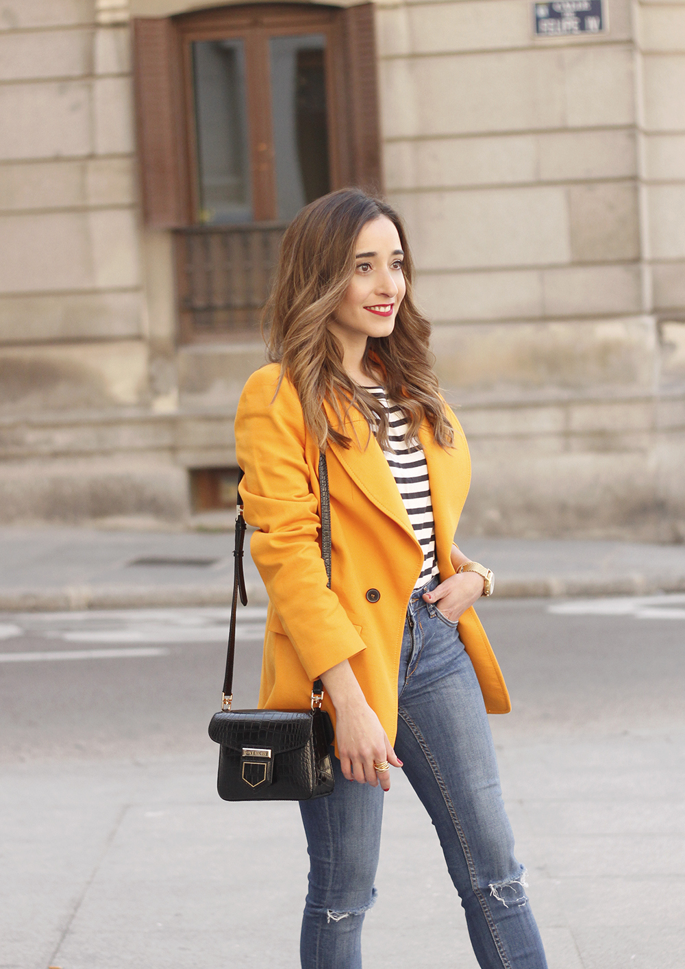yellow blazer strippes ripped jeans givenchy bag leopard heels spring outfit 201811