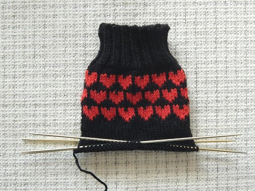 Soul Mate Heart Socks in progress