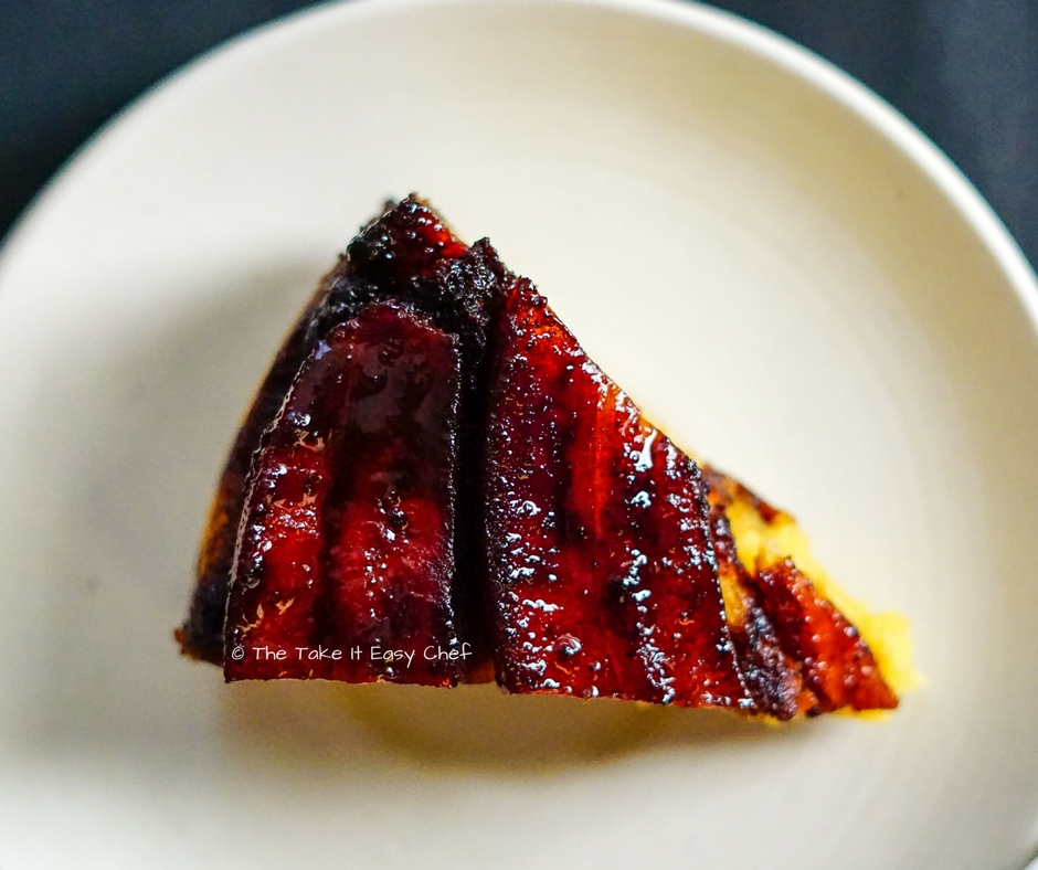 A slice of upside down banana cake - love it!