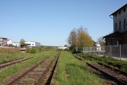 Gleise im Bahnhof Dingelstädt in Richtung Silberhausen Trennung