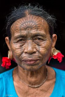 Spiderweb face tattooed Chin woman - Rakhine province, Myanmar | by Phil Marion
