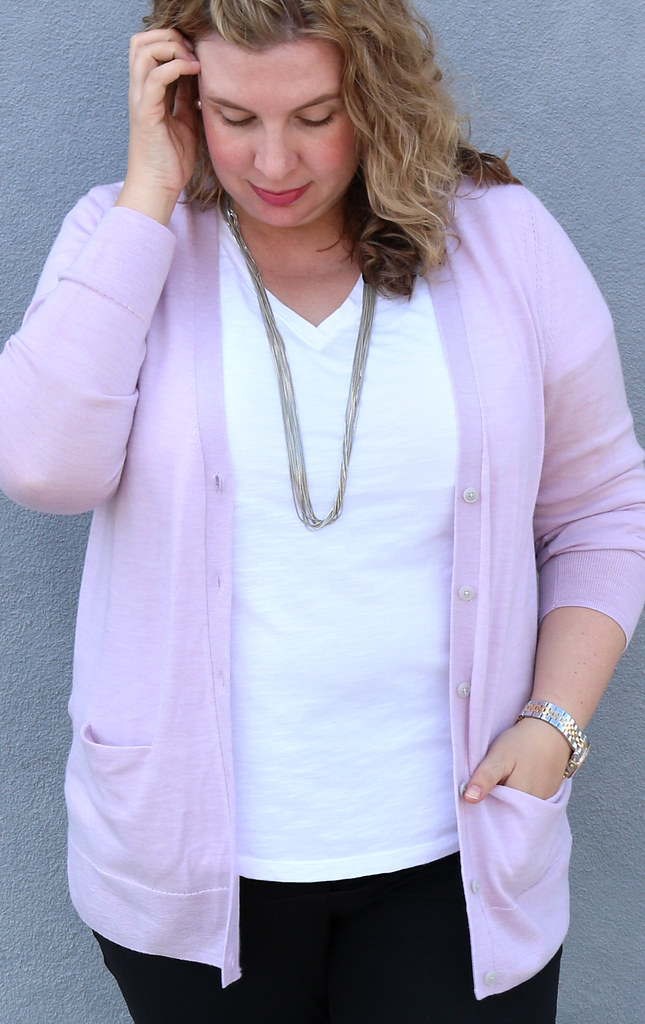 lilac cardigan, white tee, black pencil pants, leopard flats 4