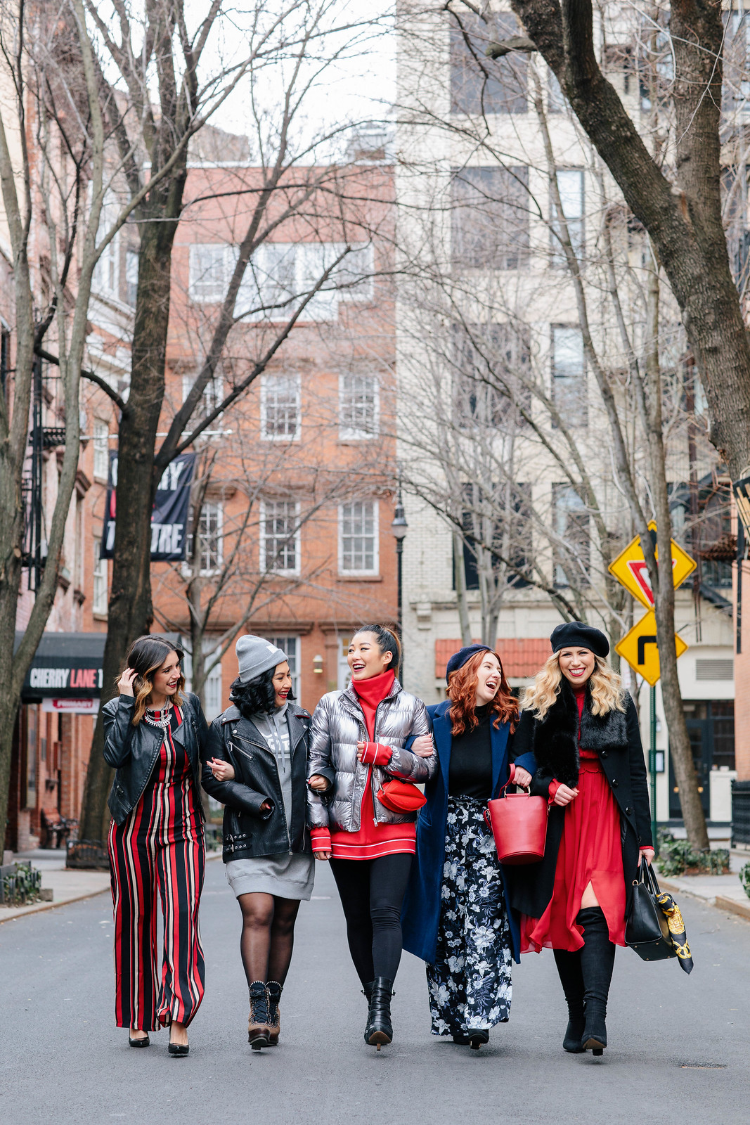 Fashion Blogger Friends Arms Linked Outfit Inspiration Winter Red Street Style NYFW New York Fashion Week