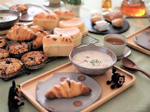 にゃんこミニ食パン クロワッサン ランチテーブル20180217-DSCT4591 (3)