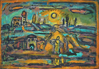 Georges Rouault, Biblical Landscape, Road and Poplars, Setting Sun, 1949-1956 5/27/09 #centrepompidou