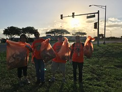 Maui Electric's Adopt-a-Highway Clean-up - February 10, 2018: Our volunteers with their full bags!