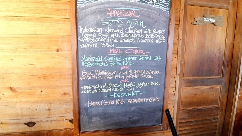Breakfast menu at Telunas Private Island