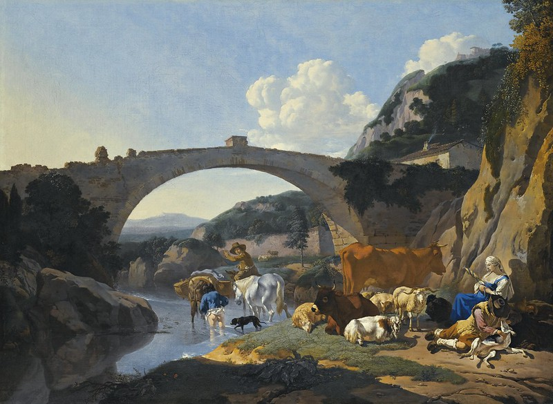 Karel Du Jardin - Italianate Landscape with Herders and Animals resting by a River under a Bridge