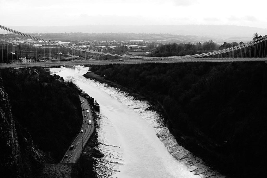 Clifton Suspension Bridge - Clifton Village - Bristol UK - Set of High Contrast BW images of Clifton Suspension Bridge and aerial shots of nearby places