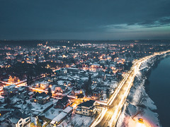Panemunė at night | Aerial