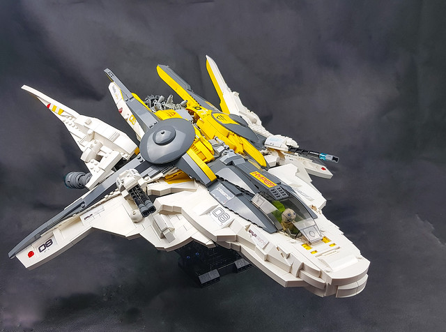 LEGO Spaceship Mercury class Interceptor. Final, with stand.
