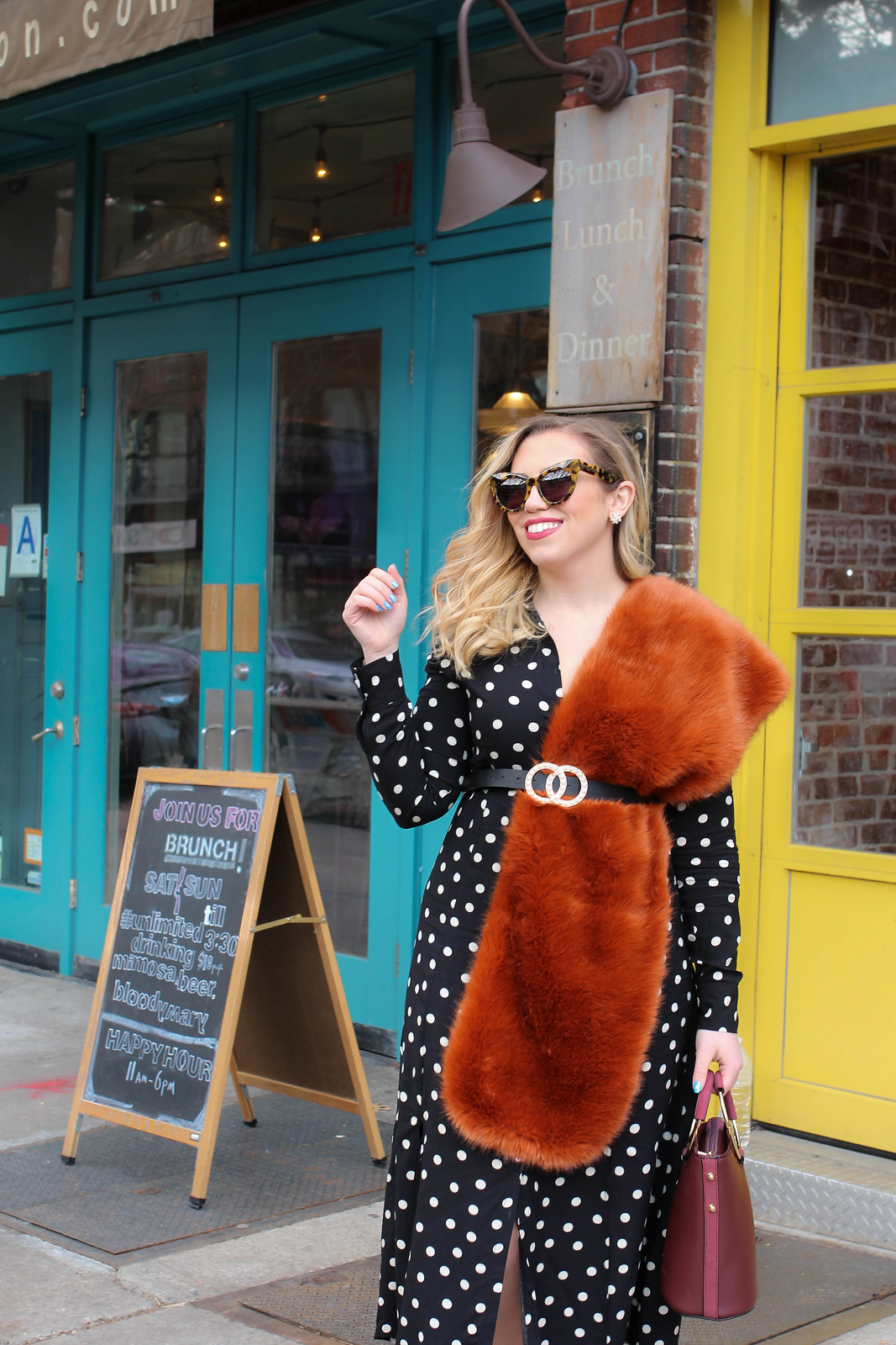 Blonde Girl Wearing Orange Fur Scarf Pearl Belt Polka Dot Midi Dress