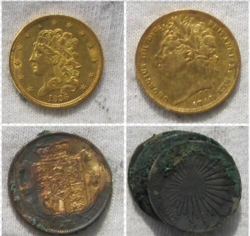 4 Coins from Pulaski wreck