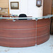 Cherry and glass reception counter E500