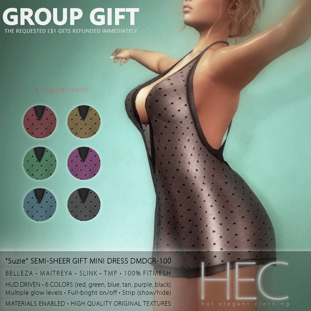 "HEC (teleporthub.com GROUP GIFT) • ""Suzie"" SEMI-SHEER GIFT MINI DRESS DMDCR-100 - TeleportHub.com Live!"