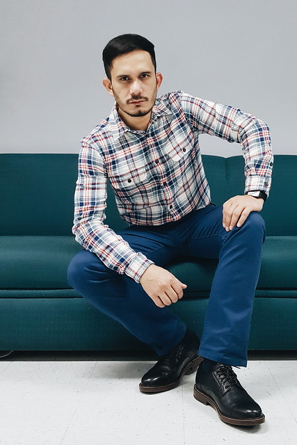 halfwhiteboy - plaid shirt and colored pants 02