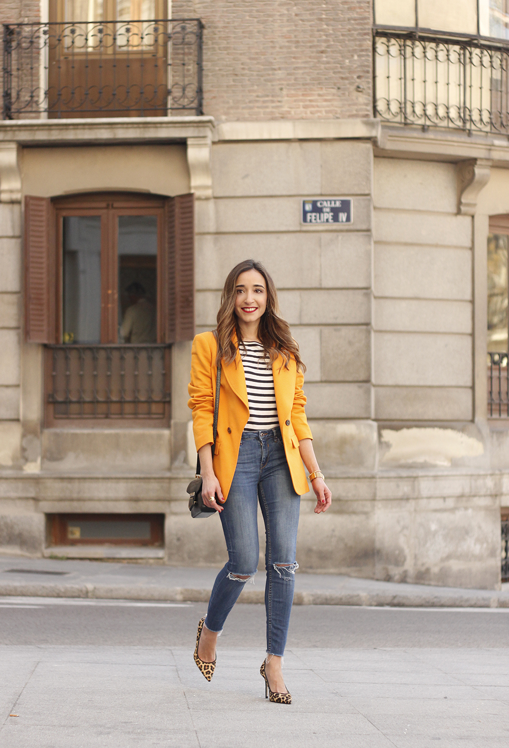 yellow blazer strippes ripped jeans givenchy bag leopard heels spring outfit 201806