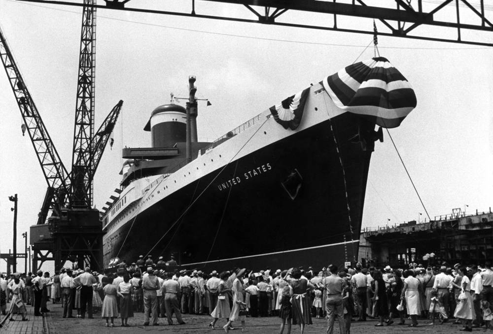 SS United States under construction in Newport News, Virginia.